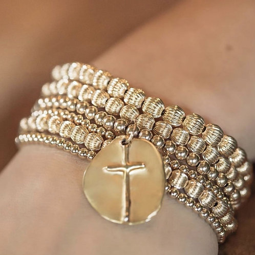 enewton - Gold 4mm Bead Bracelet with Cross Charm
