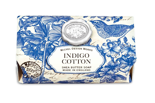MICHEL DESIGN Indigo Cotton Large Bath Soap Bar