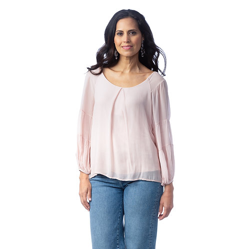 Cobble Stone Living Adeline-Scoop-neck Blouse in LIGHT PINK