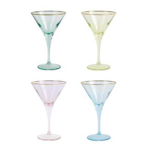 Viva VIETRI RAINBOW ASSORTED MARTINI GLASSES - SET OF 4