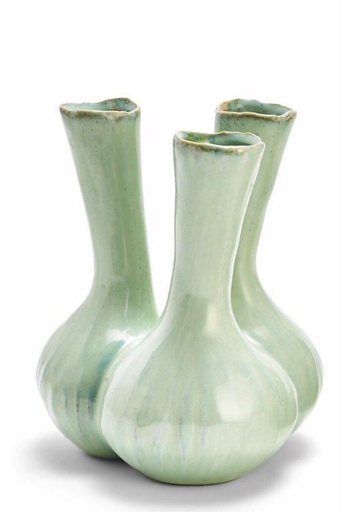 TWO'S COMPANY Celadon 3 Stem Ceramic Vase LARGE