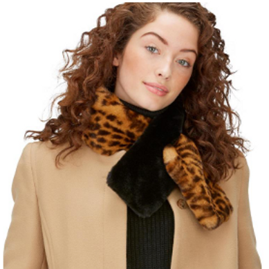 2 CHIC Faux Fur and Leopard Pull-Through Scarf