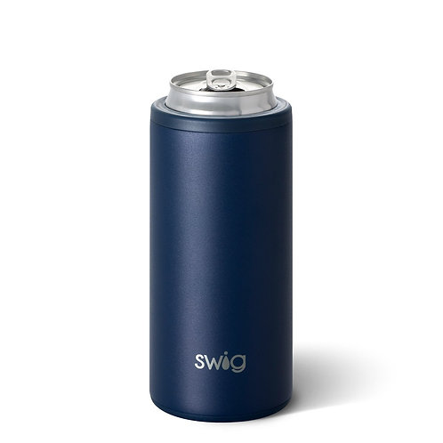 SWiG Matte Navy Skinny Can Cooler (12oz)