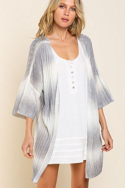 POL White & Grey Striped Cardi