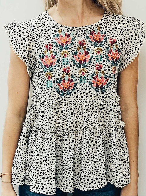 THML Spotted Floral Top