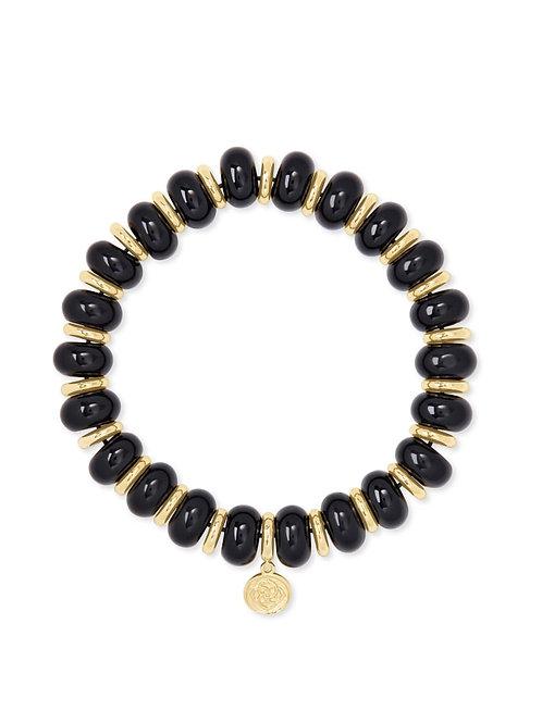 Kendra Scott Rebecca Gold Stretch Bracelet In Black Agate