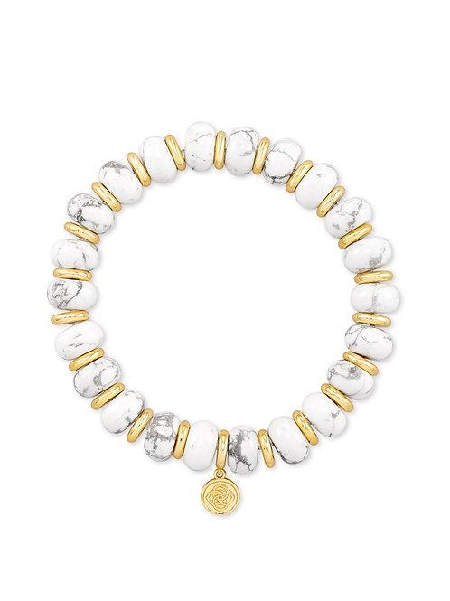 Kendra Scott Rebecca Gold Stretch Bracelet In White Howlite