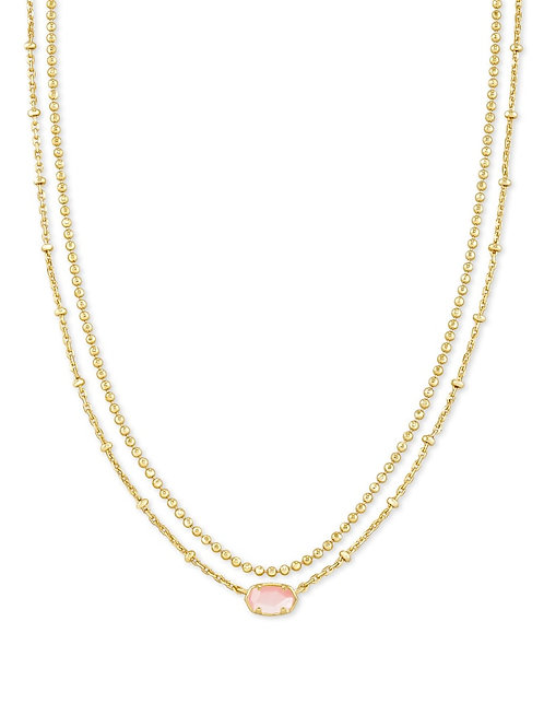 Kendra Scott Emilie Gold Multi Strand Necklace In Rose Mother Of Pearl