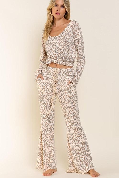 POL Grey Leopard Jersey Pants