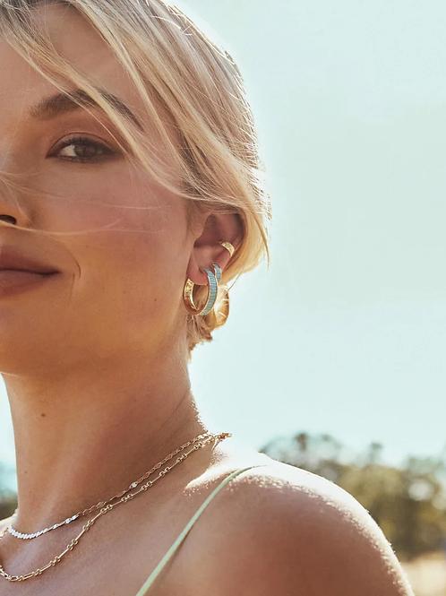 Kendra Scott Jack Gold Hoop Earrings In Turquoise Crystal