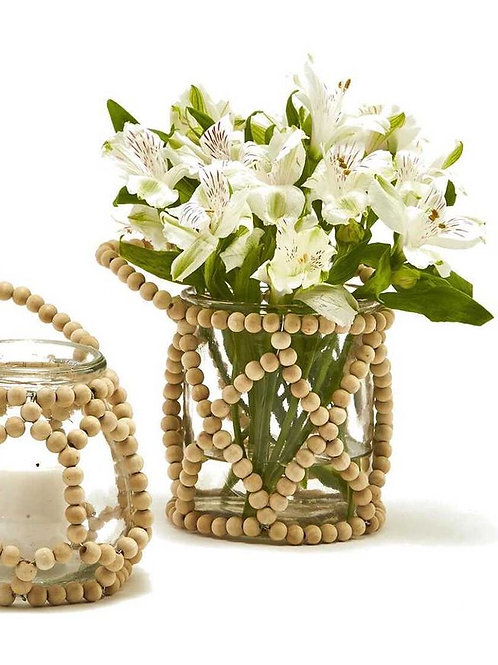 BAMBOO BEADED ACCENT JAR - LARGE
