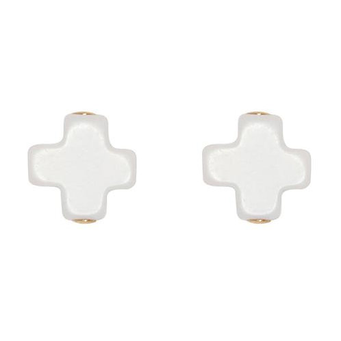 enewton - Signature Cross Studs in OFF-WHITE