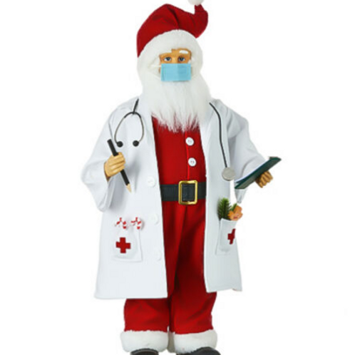 RAZ Imports Doctor Santa Claus w/ Face Mask Frontline Workers Christmas Decor
