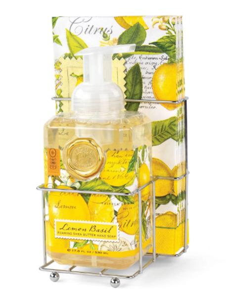 MICHEL DESIGN Lemon Basil Foaming Hand Soap Napkin Set