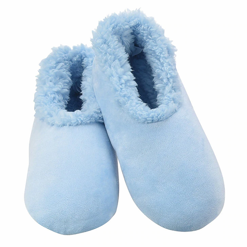 SNOOZIES Super Soft Plush Slippers in LIGHT BLUE