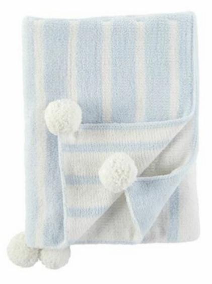 Mudpie Baby Color Block Blanket in Baby Blue