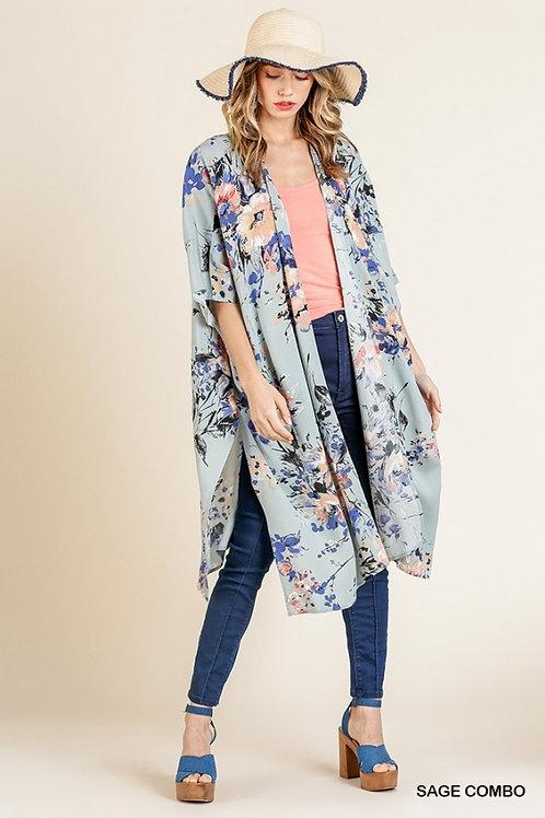 UMGEE Sage Floral Long Kimono
