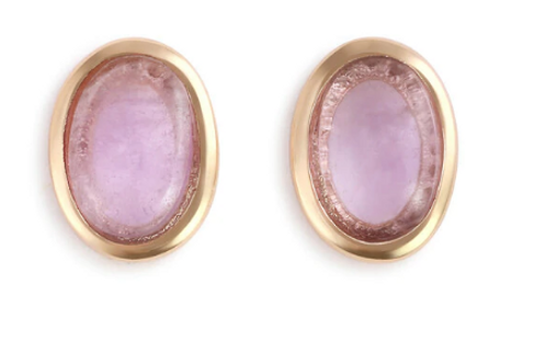 Gold Earrings with Round Amethyst Gemstone - Giving Collection