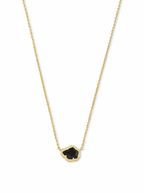 Kendra Scott Tessa Gold Small Pendant Necklace In Black Obsidian