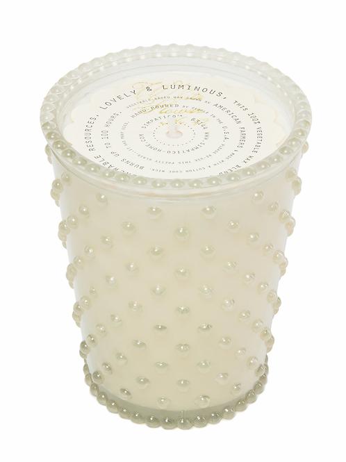 SIMPATICO NO. 42 WHITE FLOWER HOBNAIL GLASS CANDLE