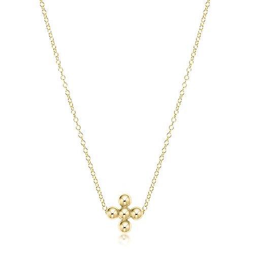 "enewton - 16"" Necklace Gold - Classic Beaded Signature Cross Gold"