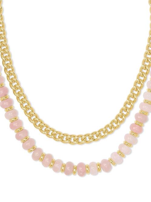 Kendra Scott Rebecca Gold Multi Strand Necklace In Rose Quartz