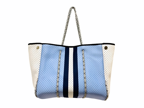Parker & Hyde Tan Baby Blue and Navy Stripe Tote