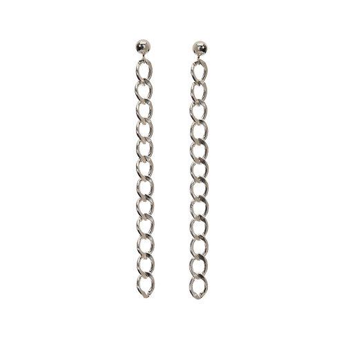 Kenda Kist SILVER Curb Chain Earrings