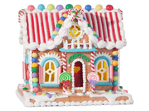 """RAZ Imports Kringle Candy Co. 11"""" Candy Lighted Gingerbread House"""