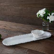 Beatriz Ball Alegria Melamine White Baguette Platter & Mini Bowl