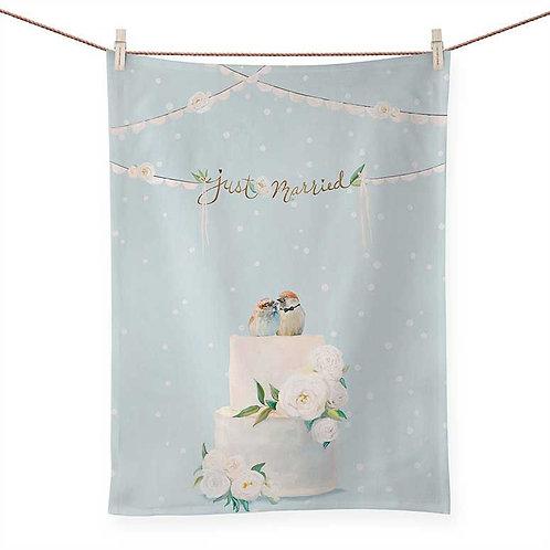 Green Box Art - Wedding Birds Tea Towel