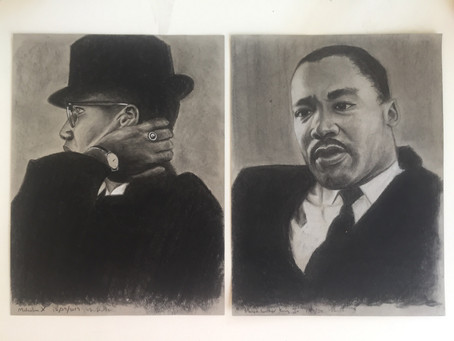 Portrait set of Malcolm X and Dr. Martin Luther King, Jr.