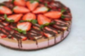 Gâteau cru au Chocolat et au fraise