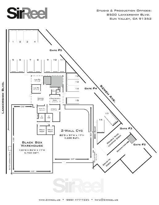 Map of the studio and location