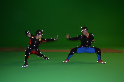 2 actor during a Video game shoot