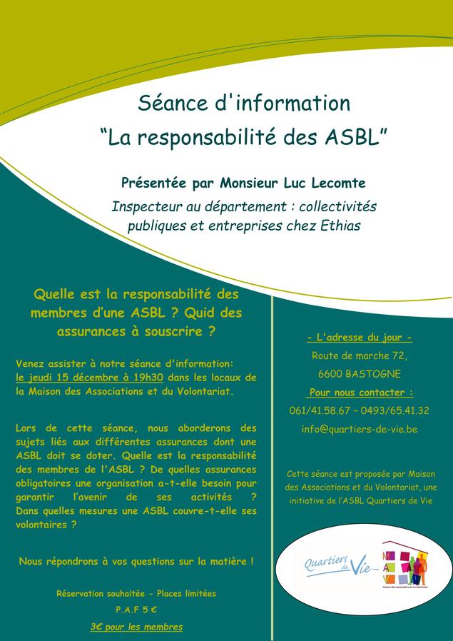"""Séance """"Responsabilité des ASBL"""""""