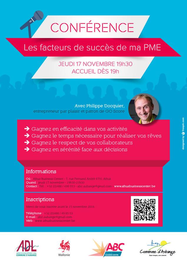 """Conférence : """"Les facteurs de succès de ma PME""""."""