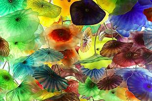 Kleurrijke geblazen glas bloemen