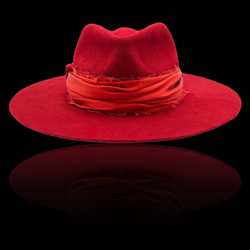 Chapeau Femme Feutre Fedora Rouge