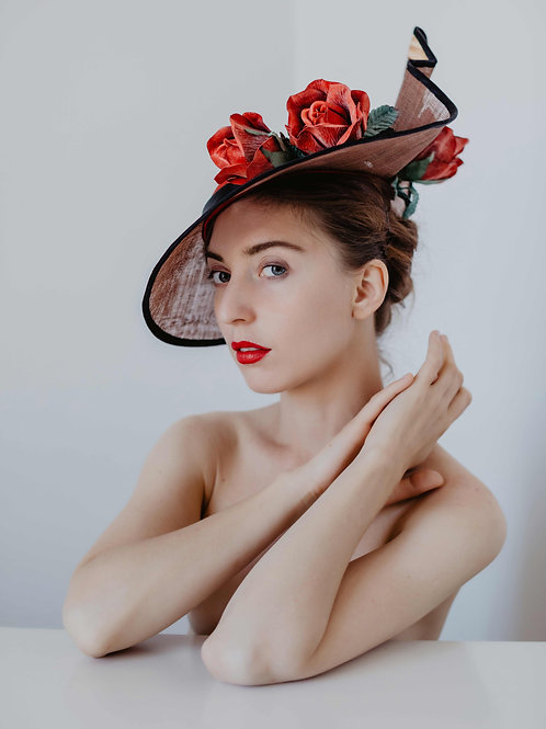 Wedding hat Red Rose
