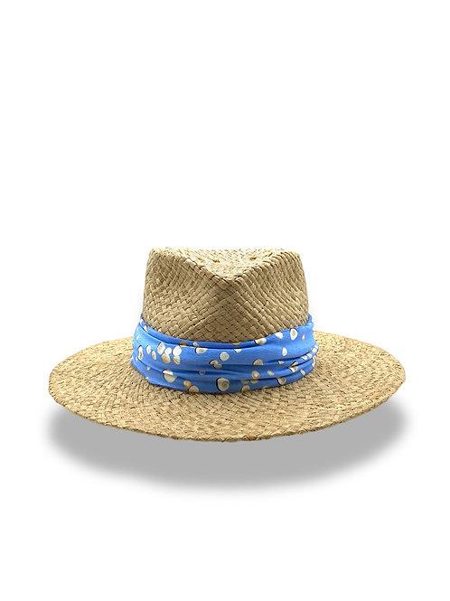 Straw sun hat Lucky Shell Blue