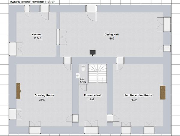 The Manor House ground floor plan of accomodation. Le Manoir gite business for sale.