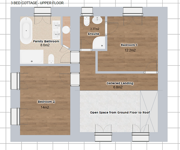 Loor plan of upstairs accomodation in the 3 bedroomed Cottage. Le Manoir gite business for sale.