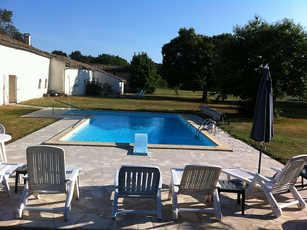 10m by 5m saltwater pool behind the Manor House with diving board & wonderful views across the grounds. Le Manoir gite business for sale.