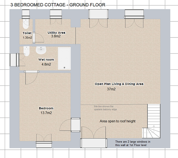 Floor plan of ground floor accomodation in the £ Bedroomed Cottage. Le Manoir gite business for sale.