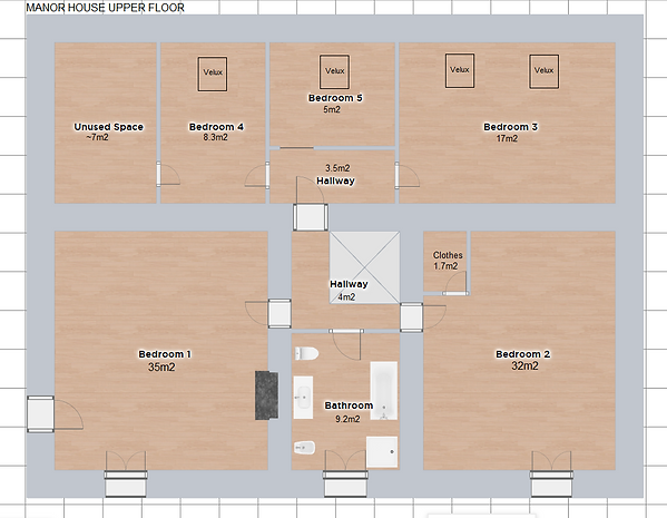 The Manor House upstairs floor plan of the accomodation. Le Manoir, gite business for sale.