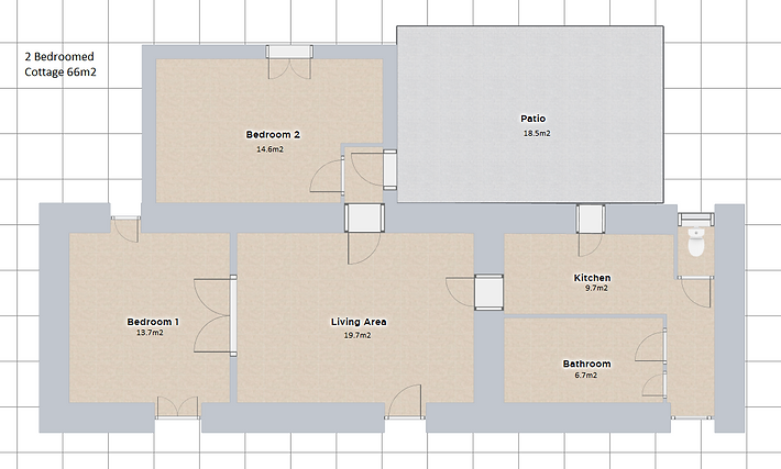 Loor plan of the 2 bedroomed Cottage. Le Manoir gite business for sale.