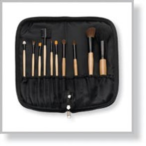 10Pc Makeup Brush Set with Zippered Case