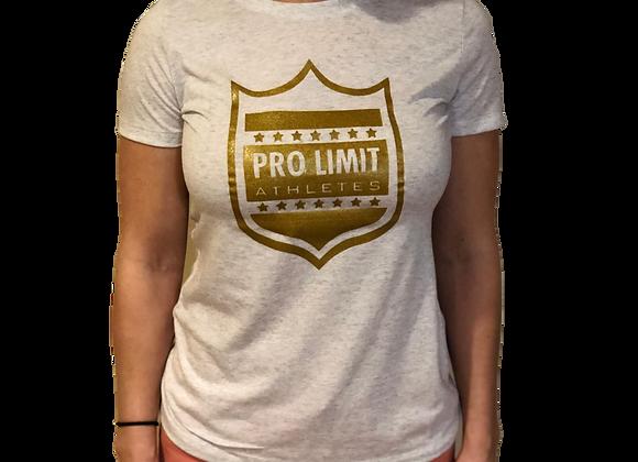 Pro Limit Athletes Short sleeve Women cut White T-Shirt Gold Logo