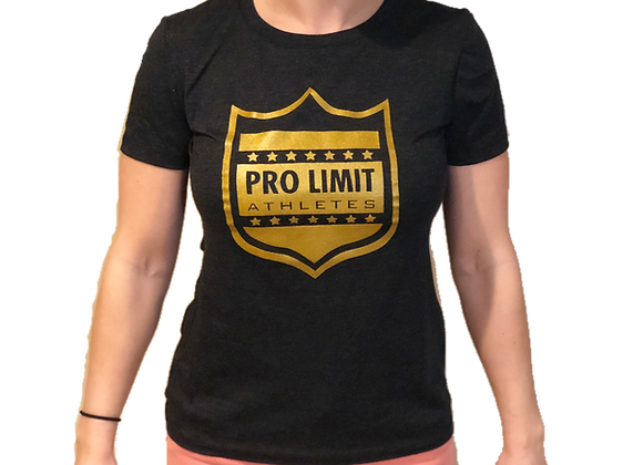 Pro Limit Athletes Short sleeve Women cut Black T-Shirt Gold Logo
